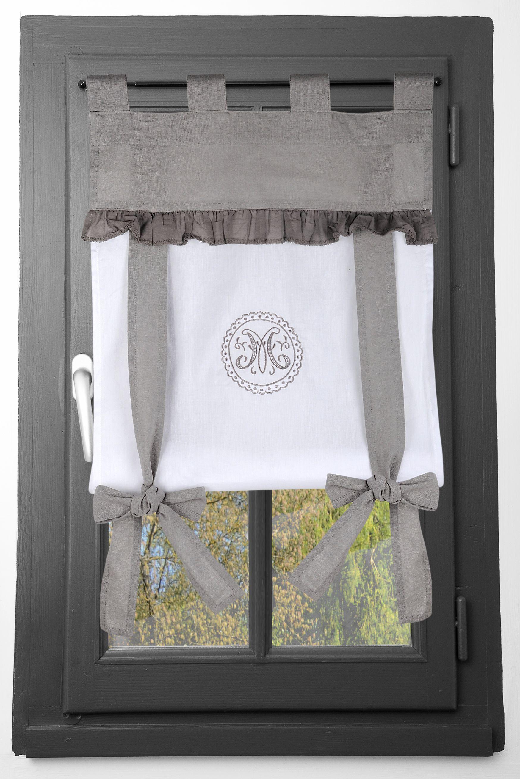 rideau vitrage 45x100cm gris et blanc