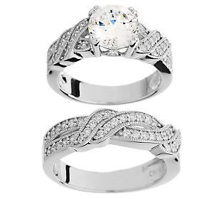 Epiphany Diamonique 100 Facet Twisted Pave 2 Pc Ring Set Beautiful Rings Jewelry Engagement Rings