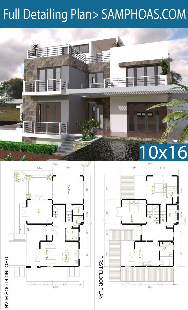 4 Bedrooms Modern Home Plan Size 10x16m Samphoas Plan House Arch Design Sims House Plans Modern House Plans
