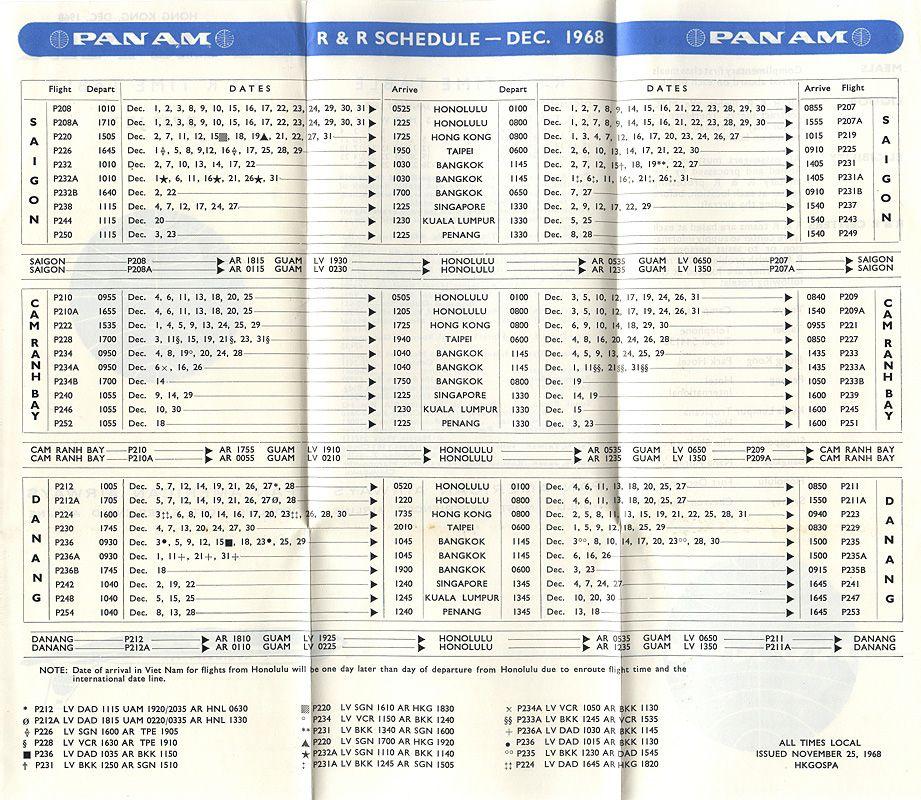 Pan American World Airways R&R Flights
