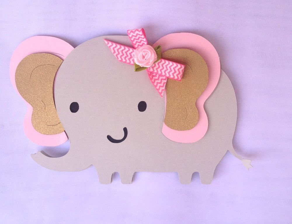 Elephant Baby Shower Topper Centerpieces Decoration Pink And Gray