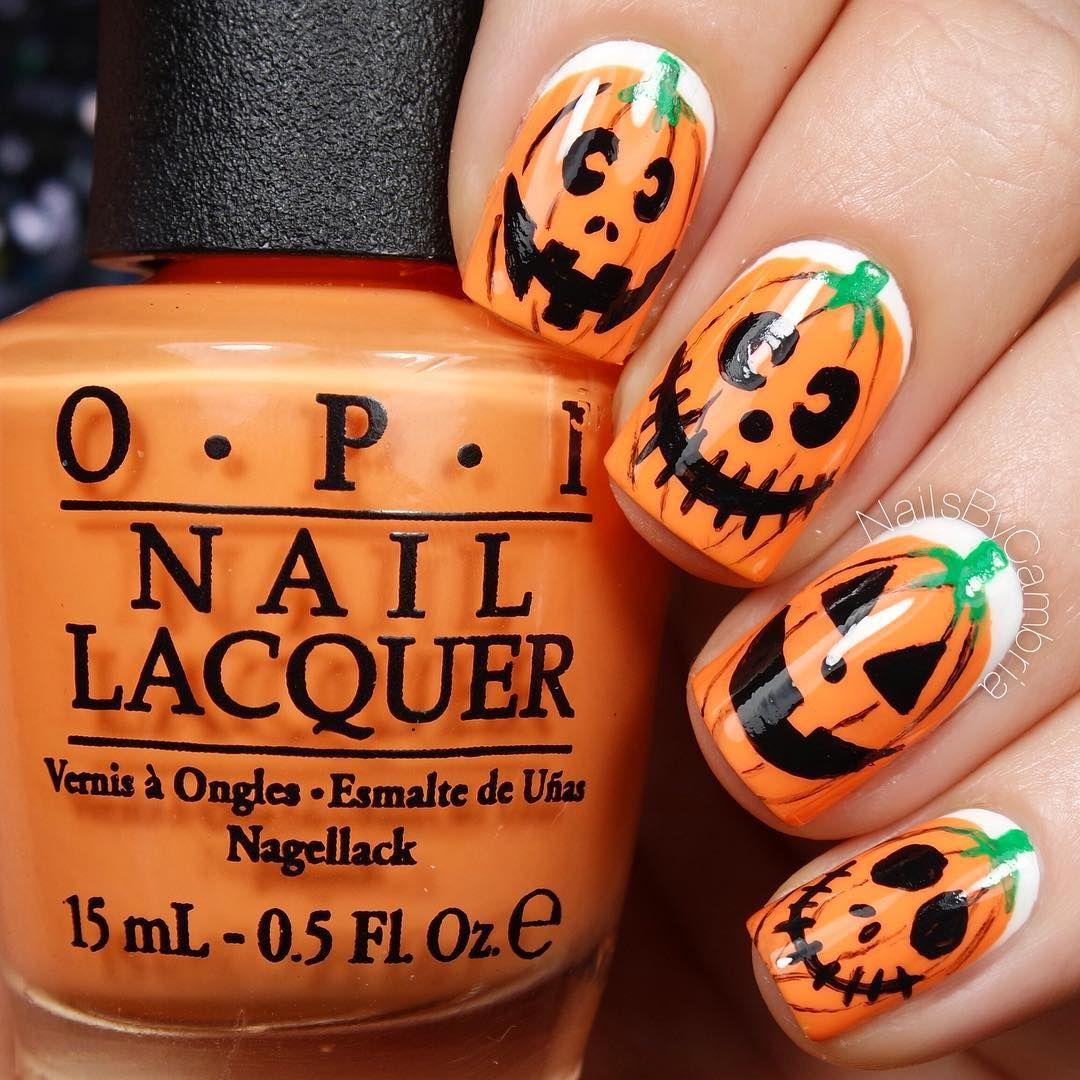 Orange halloween pumpkin nail art design | nail art | Pinterest ...