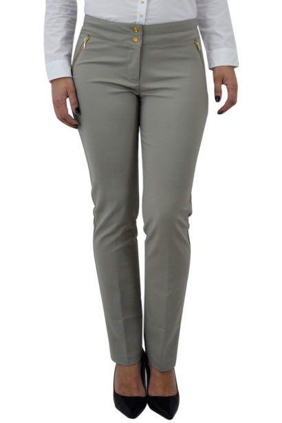 a5a267b1e calça social feminina cinza com detalhes dourados