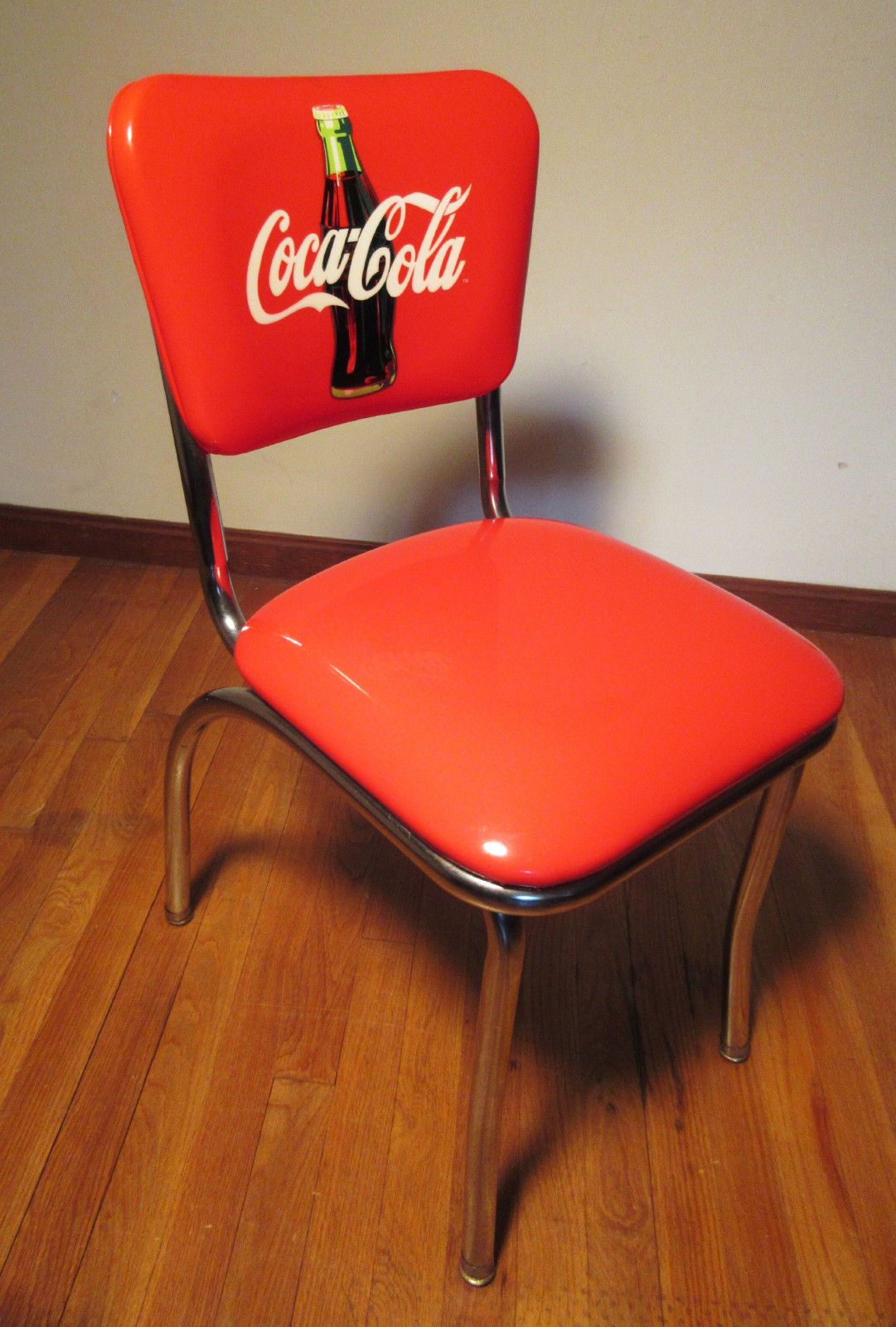 a iconic diner chair w coca cola coke bottle logo red vinyl