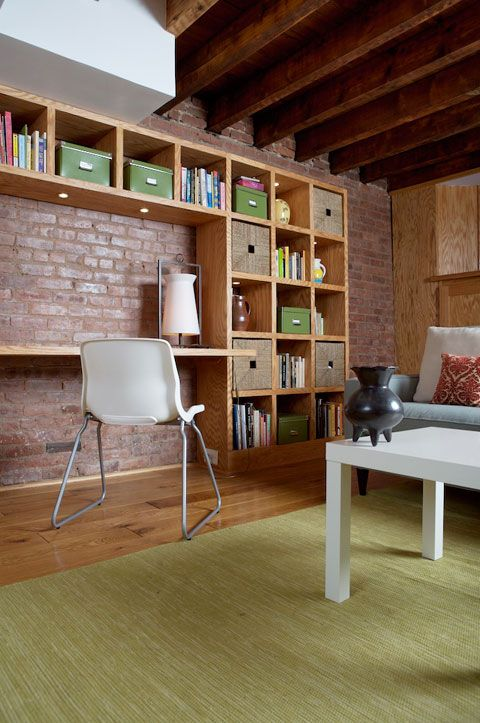 bookcases on brick wall - Google Search
