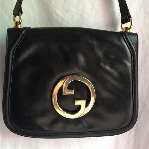 abd5c77c3cf Gucci Blondie Vintage Black Leather Shoulder Bag G Authentic vintage Gucci