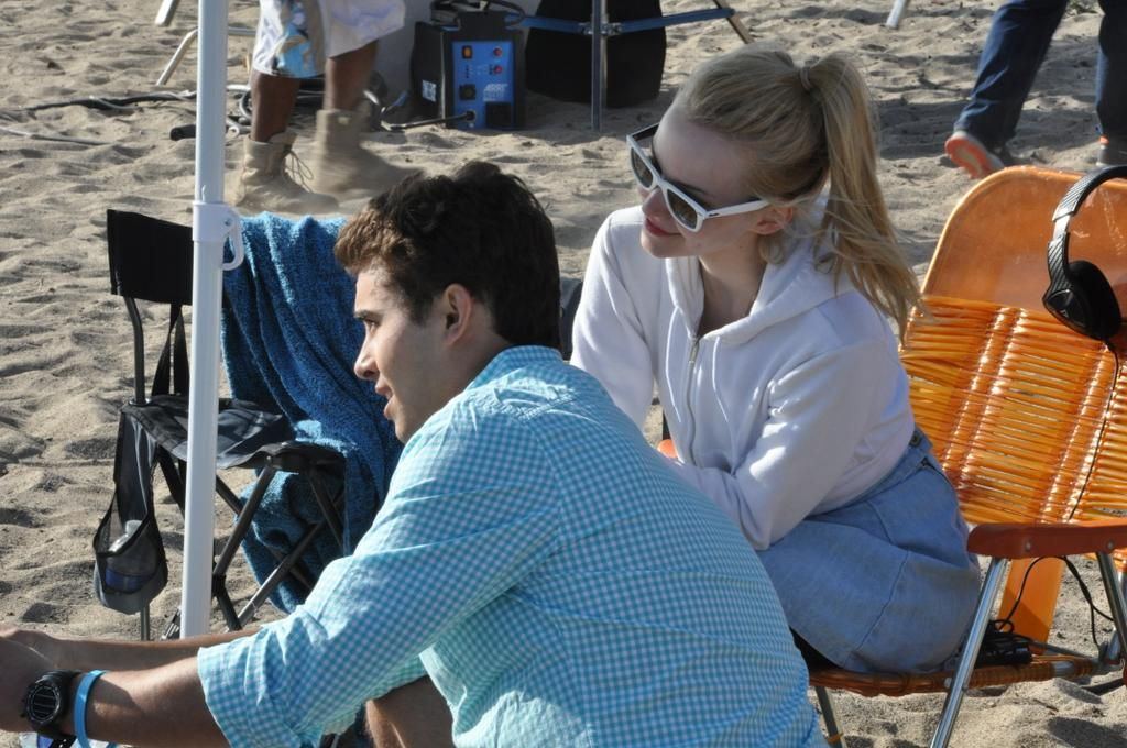 #BTS shot of @JansenBaker and @DoveCameron watching @ryanmccartan freeze in the cold springtime water in Malibu.