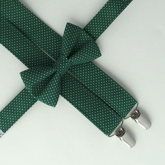 b1184cca934c Green Suspenders and Bow Tie: Dark Green Suspenders, Green Polka Dots,  Toddler Suspenders, Polka Dots, Ring Bearer, Page Boy, Spruce, Forest