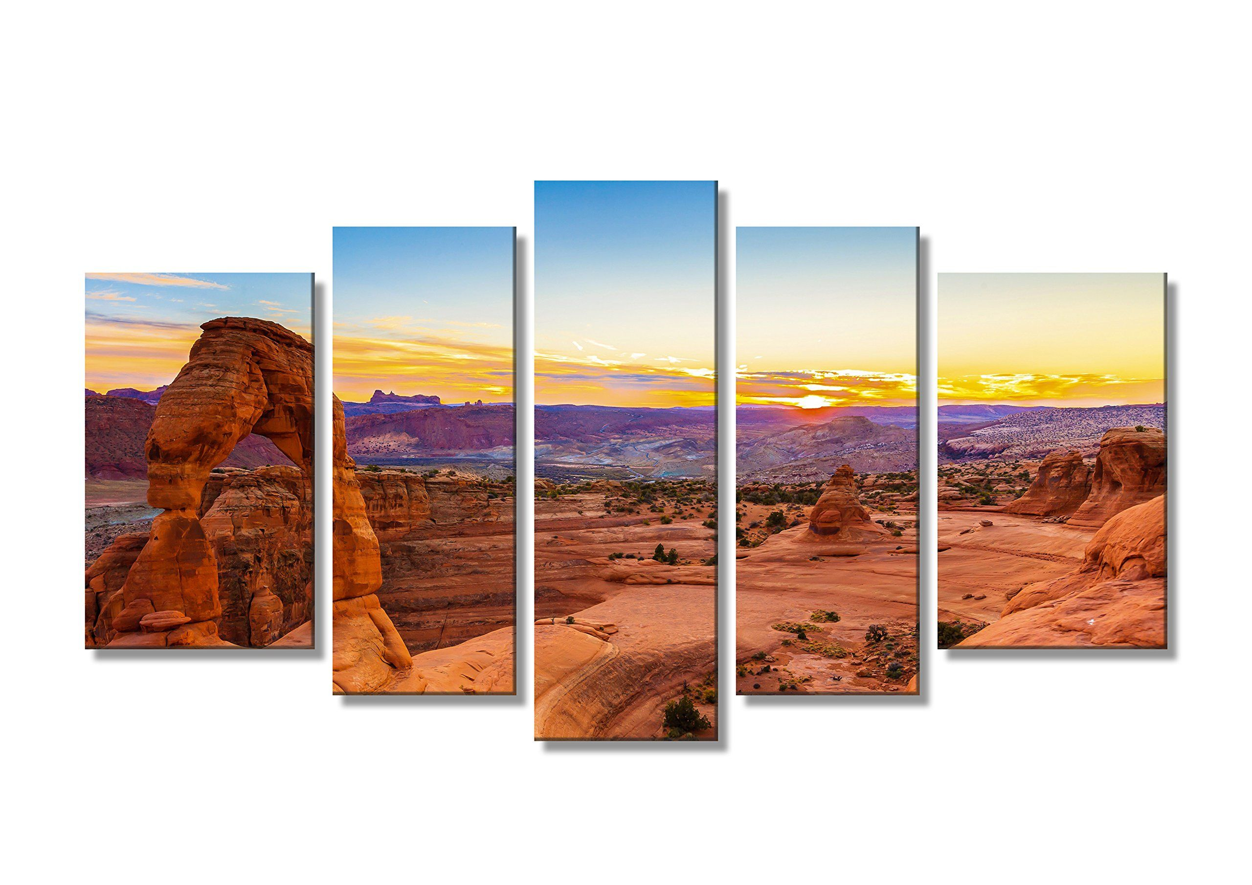 Ipainting Split Landscape Canvas Print Wall Art Framed Arches National Park Utah Usa In The Sunset 5 Panel Set Landscape Wall Art Landscape Canvas Wall Art