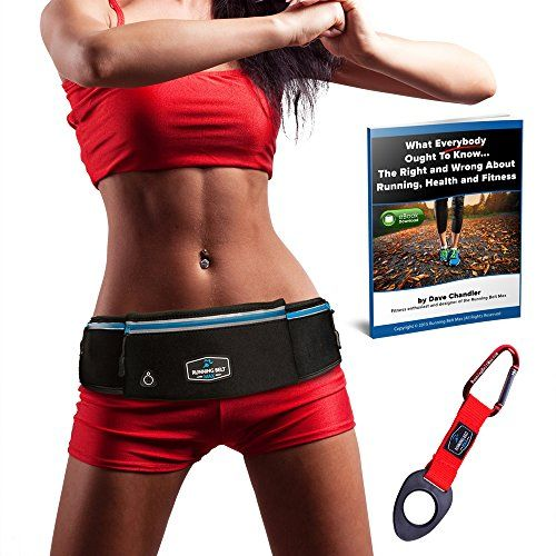 Running Belt Max  Amazing Exercise Yoga Travel Pack For iPhone 6 Plus 7 Samsung Galaxy Any Large SmartPhone  Waterproof  3 Pockets w Reflective Zippers Earphone Hole  Water Bottle Holder *** More info could be found at the image url.