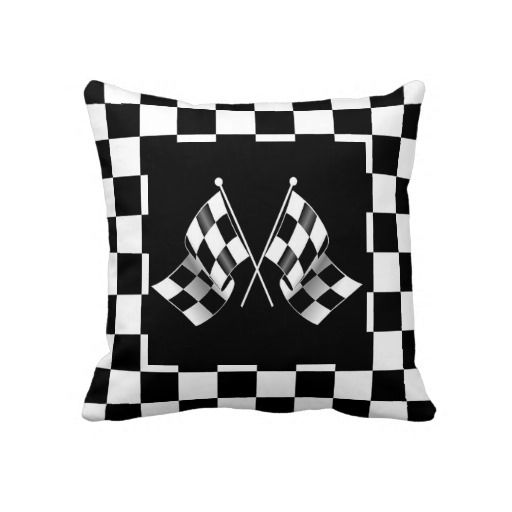 F1 Checkered Flags. Unique, fashionable, trendy and cool double sided pillow case with cool auto racing flags design on a black and white checkered background. Made for the race car sport lover, Nascar, Indy 500, Le Mans or Formula One Grand Prix racing fan. Cute boy's, kid's, mom's or dad's birthday present, Father's or Mother's day, or Christmas gift. Original and fun pillow for the master, boys or children's bedroom, man cave, living or family room, beach house, vacation home, or office…