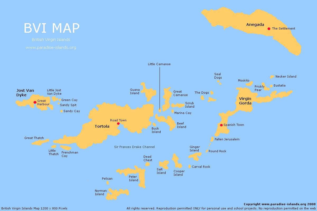 BVI Map | BVI sailing vacations in 2019 | Island map, Map ...