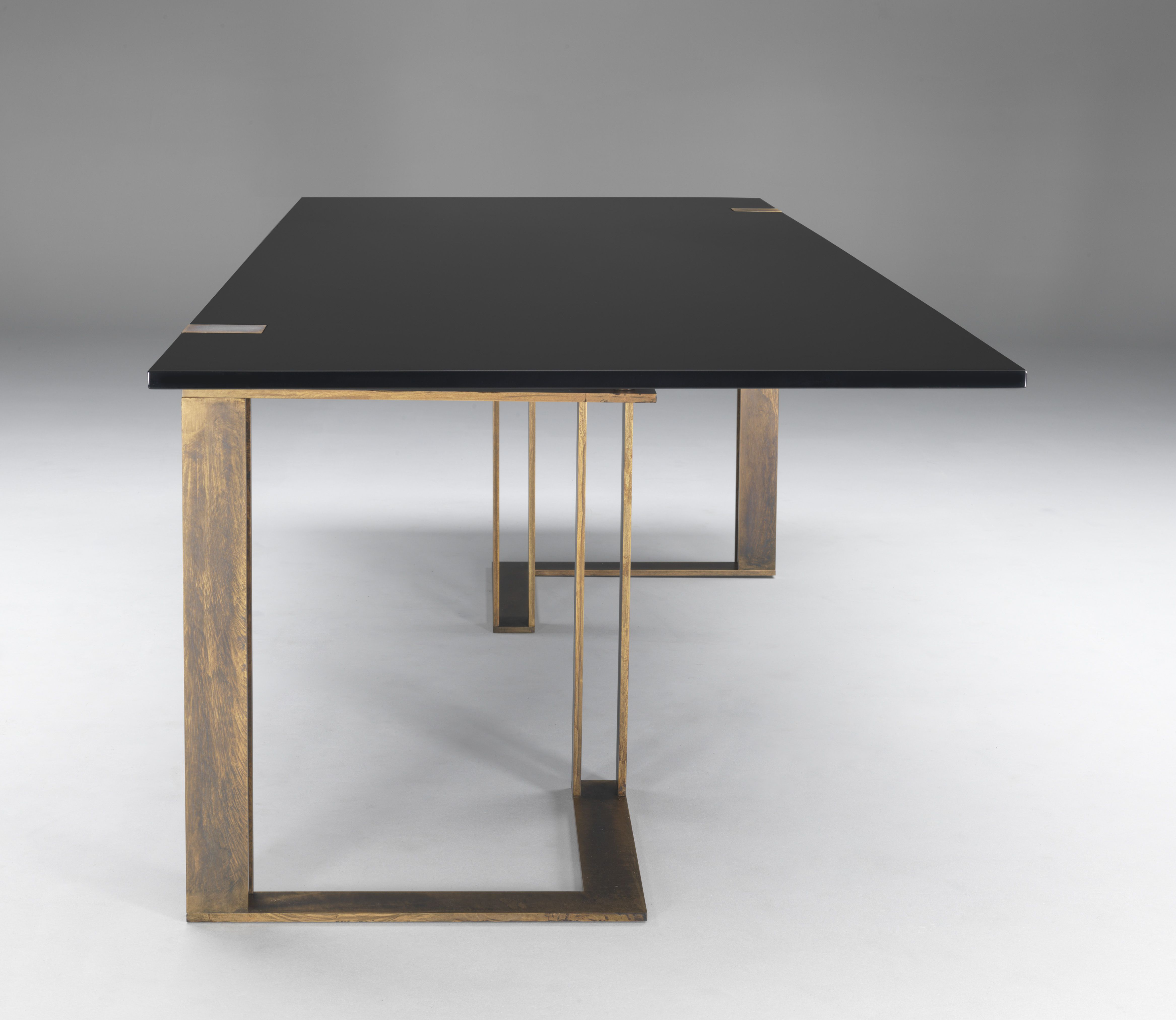 Tavolo Da Pranzo Quadrato black and gold modern dining table by paolo castelli with