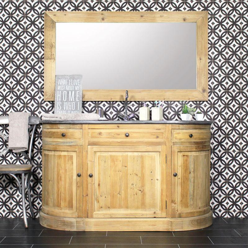 Meuble salle de bain bois massif arrondi 1 vasque, 3 portes, 2 tiroirs - Meuble Vasque A Poser Salle De Bain