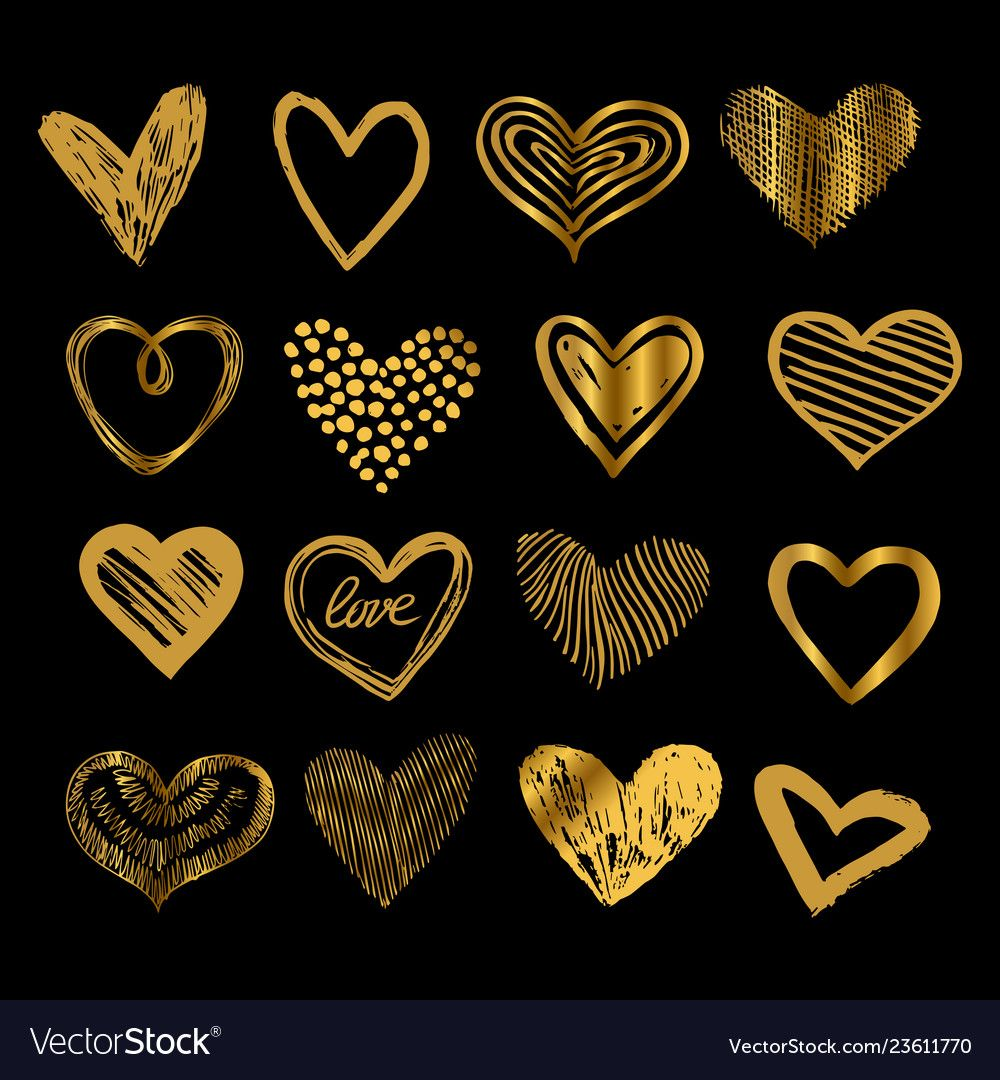 Doodle golden hearts hand drawn love heart icons vector