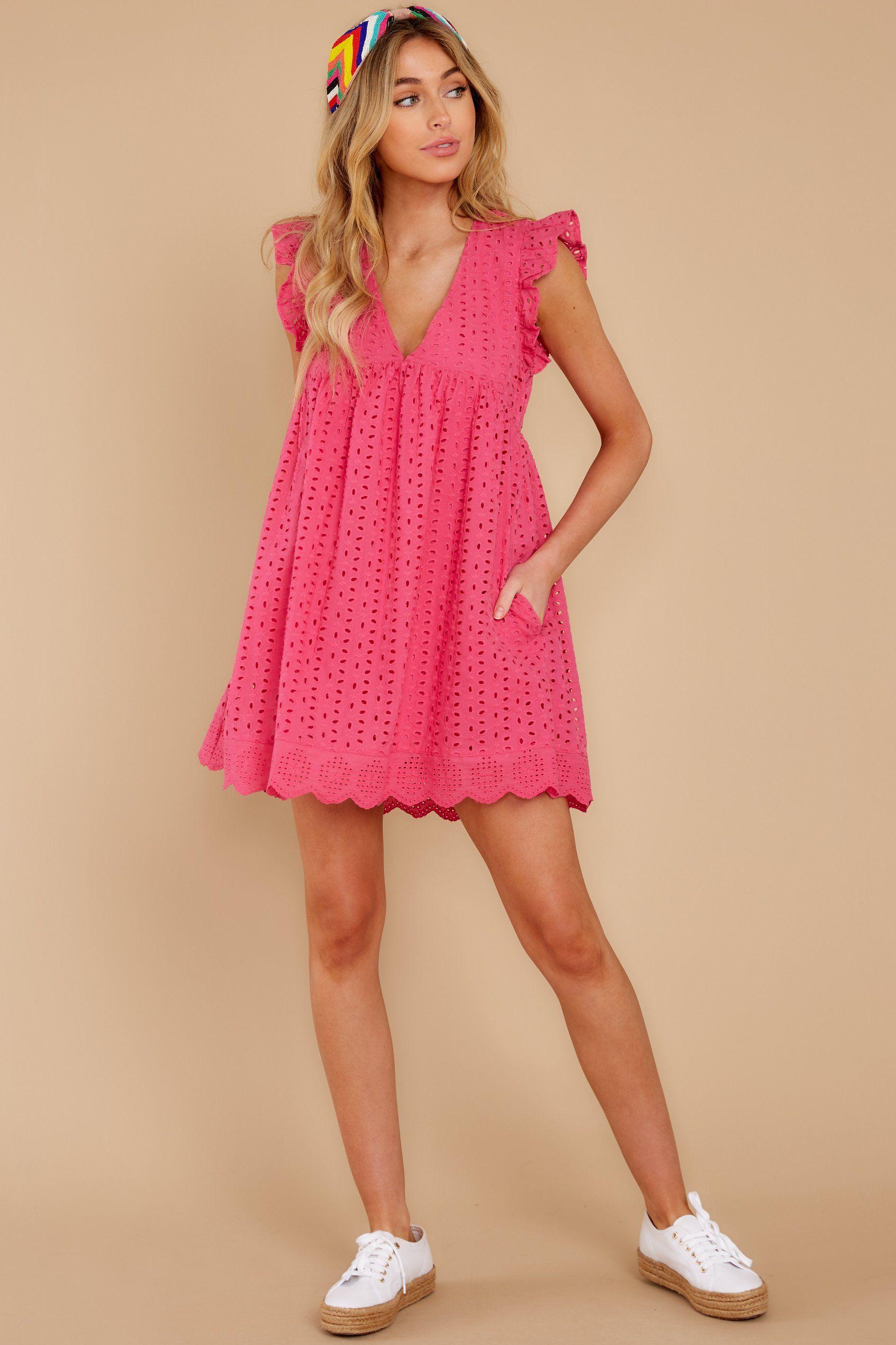 Flirty Pink Romper Eyelet Dress Hidden Romper Playsuit 48 00 Hot Pink Romper Red Dress Boutique Pink Rompers [ 2738 x 1825 Pixel ]