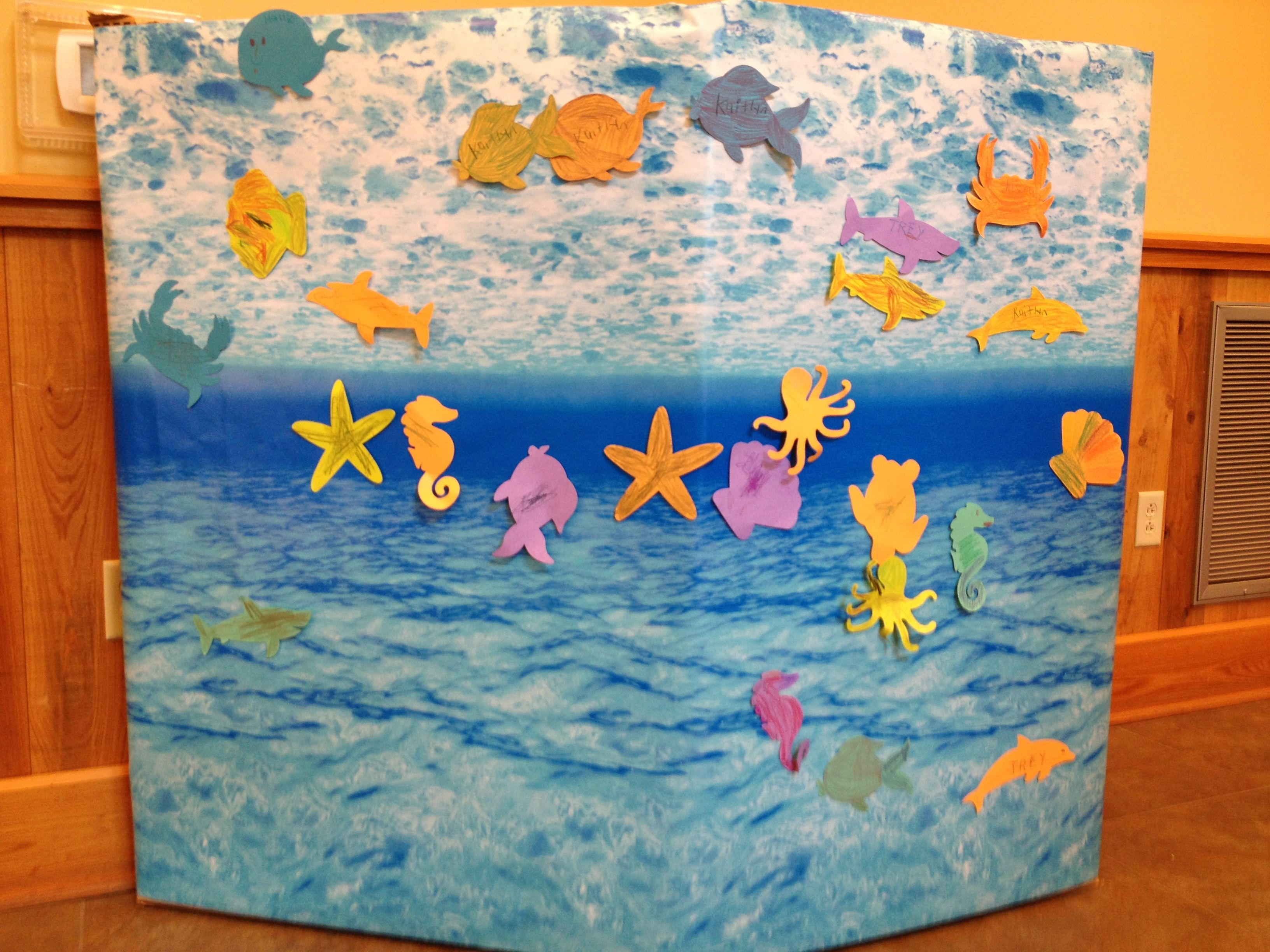 Under the sea first birthday party this is a cardboard box covered