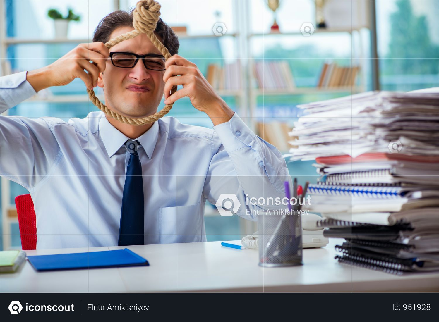 Premium Unhappy Businessman Thinking Of Hanging Himself In The Office Photo Download In Png Jpg Format Business Man The Office Photo