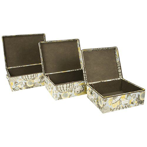 Storage Bins With Zipper Cover (Set Of 3) (Aqua And Brown) Sheffield