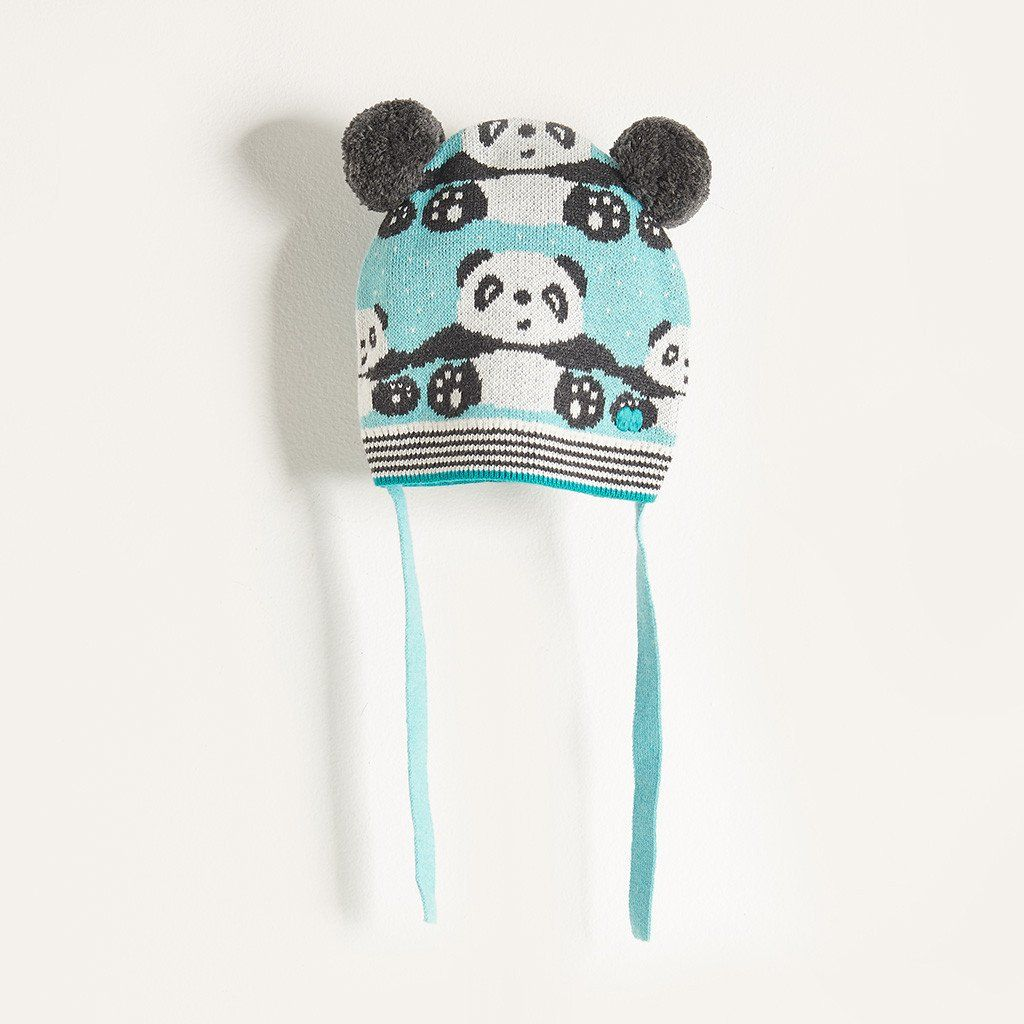 dca4dd0b520 PING - Baby Boy Knitted Panda Pom Pom Hat with Ears - Pale Blue ...