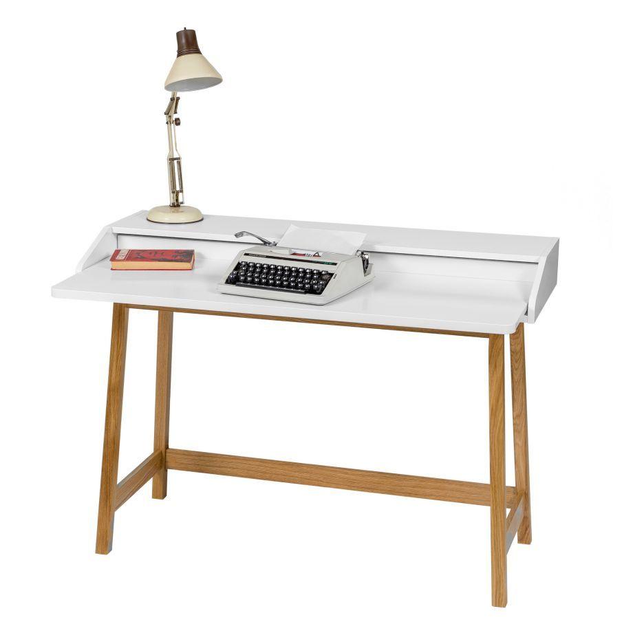 Kompakter Schreibtisch Ausziehbar In Weiß