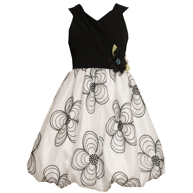 Bonnie Jean Girl Size 12.5-20.5 Black White Surplice