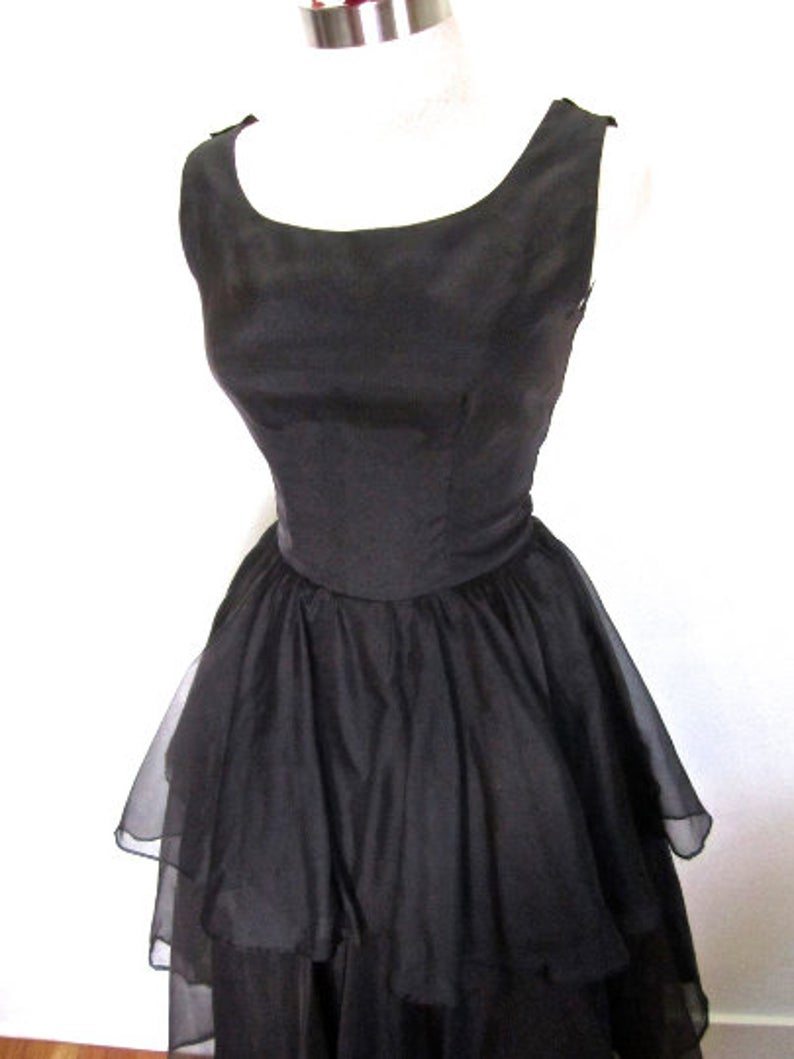 S M 50s 60s Ruffle Cocktail Dress Black Lbd Sheer Tiered Satin Etsy In 2021 Black Cocktail Dress Black Dress Perfect Cocktail Dress [ 1059 x 794 Pixel ]