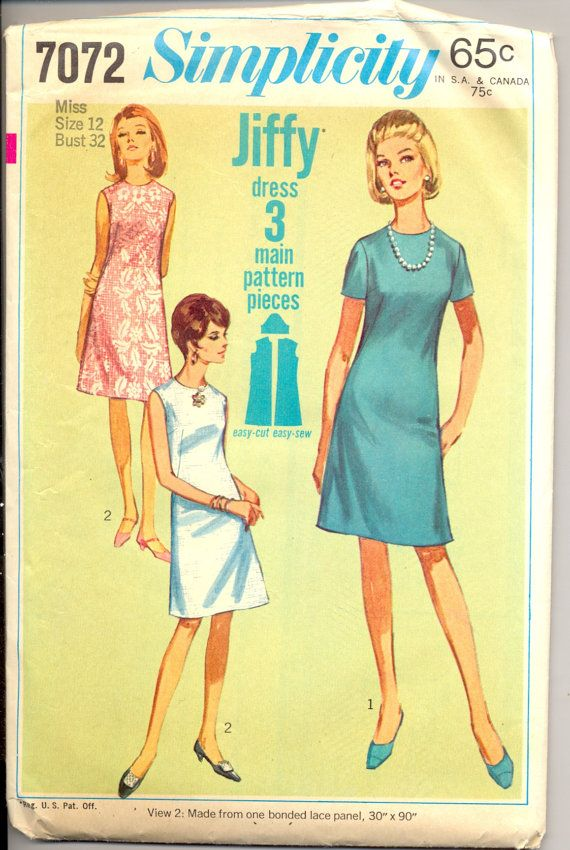 Vintage 1960\'s Womens Dress Pattern, Simplicity 7072 Sewing Pattern ...