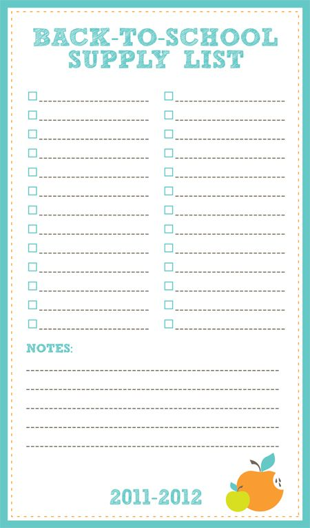 Free Printable Back to School Supply List Back to school