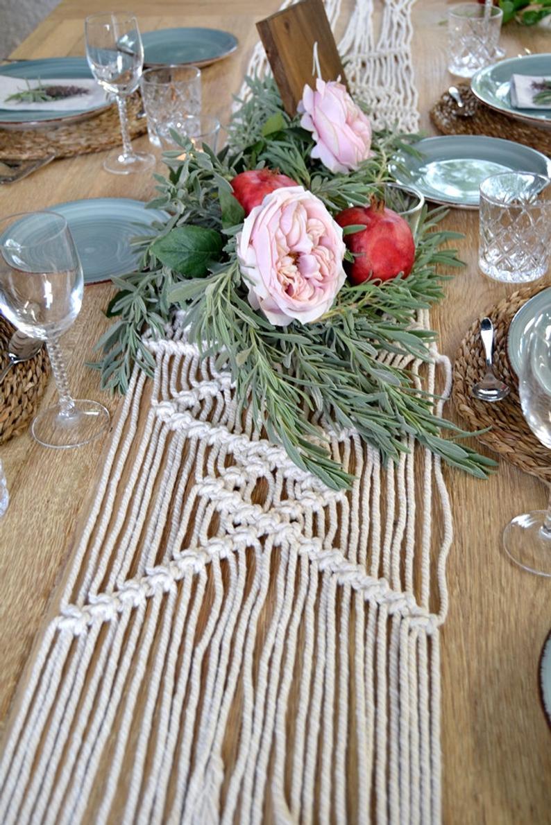 Macrame Wedding Table Runner Rustic Home Decor Table Boho Wedding Decoration Christmas Decoration Knot Table Runner Natural Macrame Etsy Tiendas