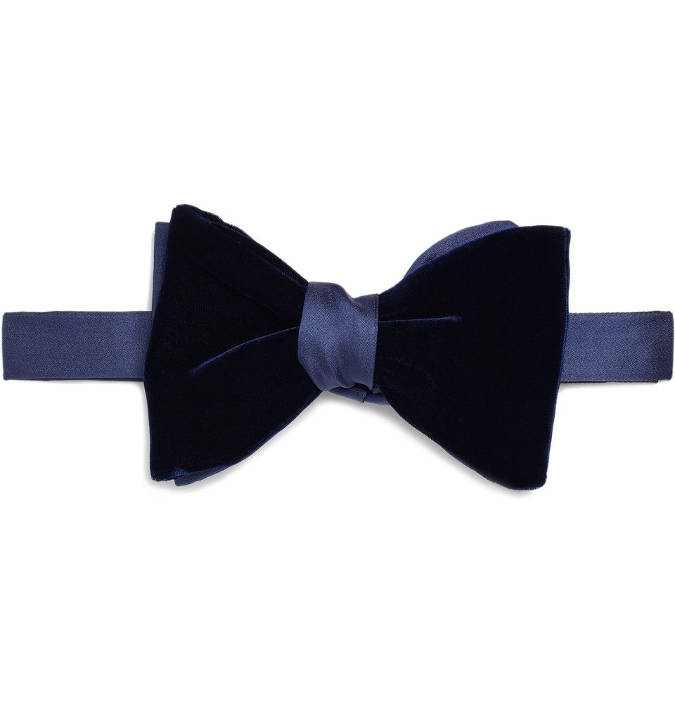 Self tie bow tie - Blue with red and white Santa hats Notch LyNCGVxt8j