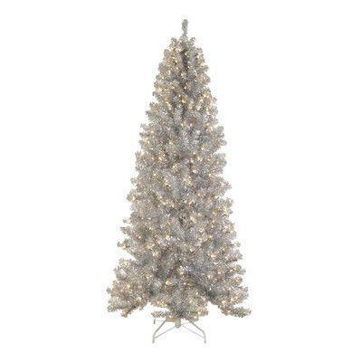 Tori Home 65\u0027 Silver Tinsel Noble Pine Artificial Christmas Tree