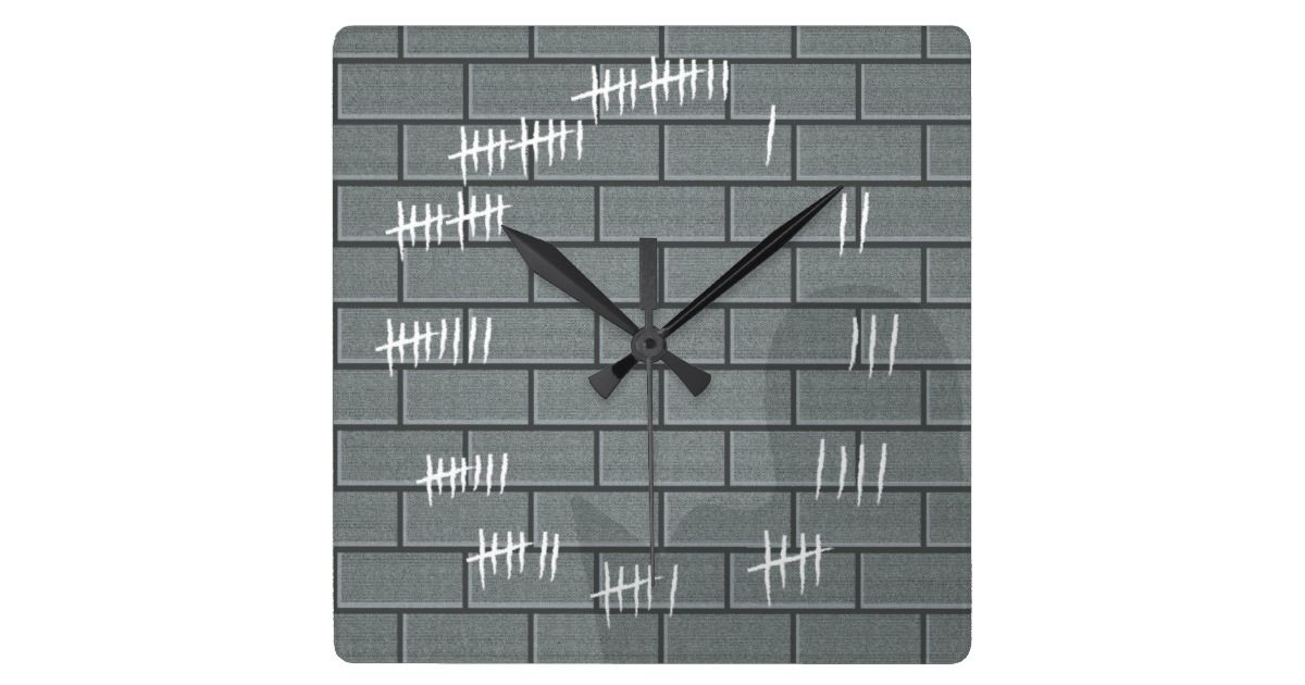 Counting Days With Chalk Marks Wall Clock Grey Zazzle Com In 2020 Wall Clock Clock Square Wall Clock