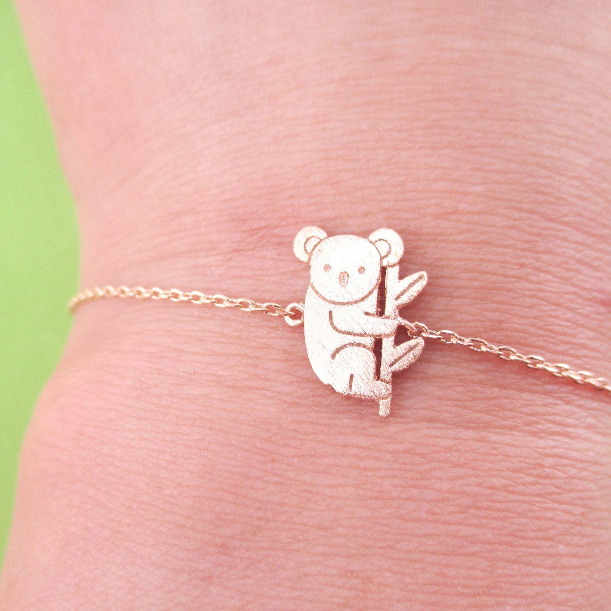 Adorable Koala Bear Shaped Silhouette Charm Bracelet in Rose Gold