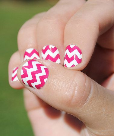 Another great find on #zulily! Raspberry Bold Chevron Nail Wrap - Set of Two #zulilyfinds
