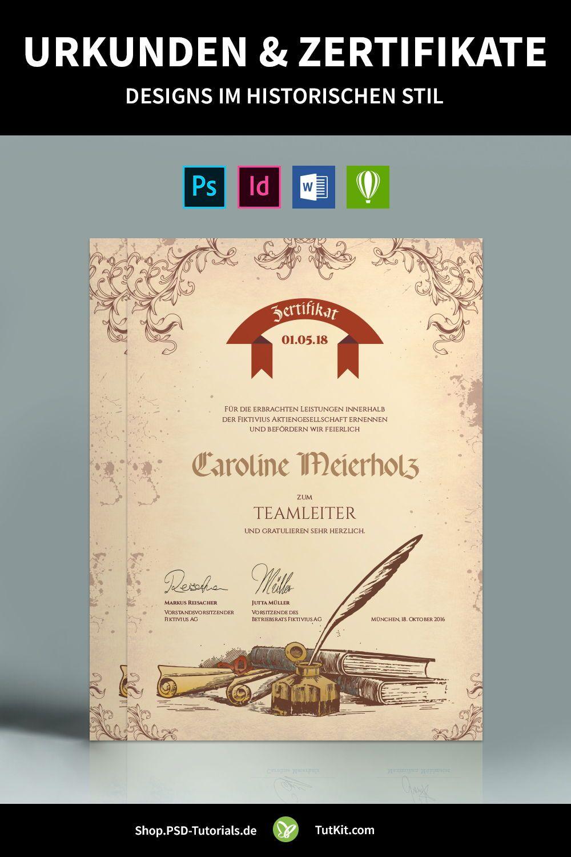 Fertige Design Vorlagen Indesign Templates Print Layouts Urkunde Zertifikat Design Indesign Vorlagen