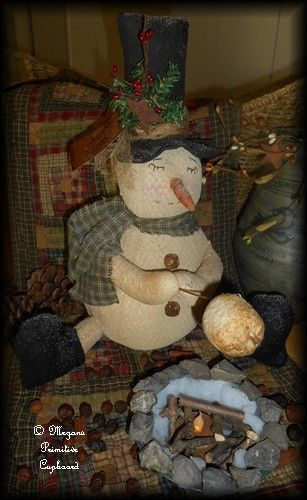 980d8b0bb0baf Primitive Winter Christmas Snowman Doll roasting marshmallow over campfire  handmade by Megans Primitive Cupboard for sale! ~SOLD~