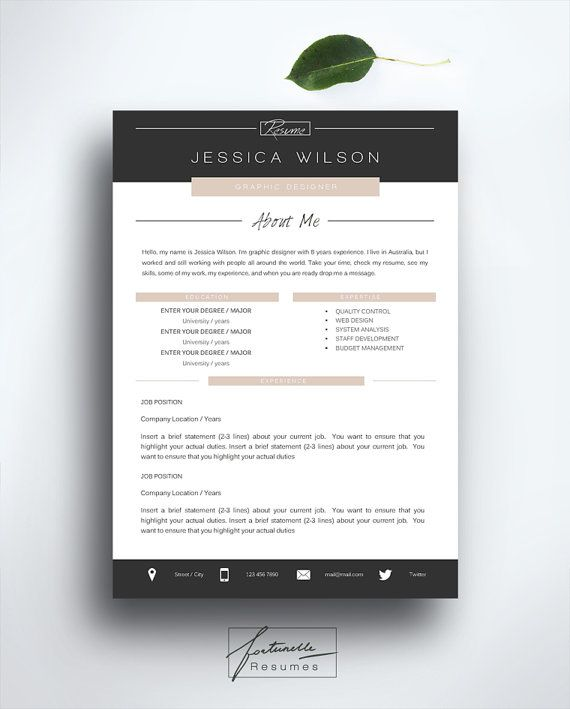 Resume Template 3 Page Cv Template Cover Letter Instant Download For Ms Word Quot Jessica Quot Modele Cv Cv Lettre De Motivation Lettre De Motivation