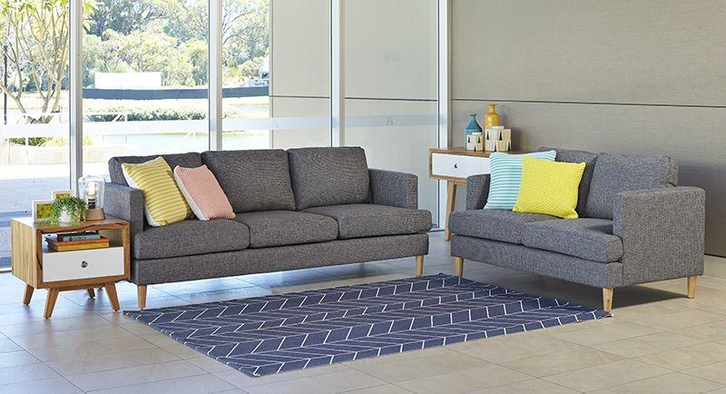 Sofas and Sofa Pairs : Bruno 3-2 Seater Fabric Lounge ...