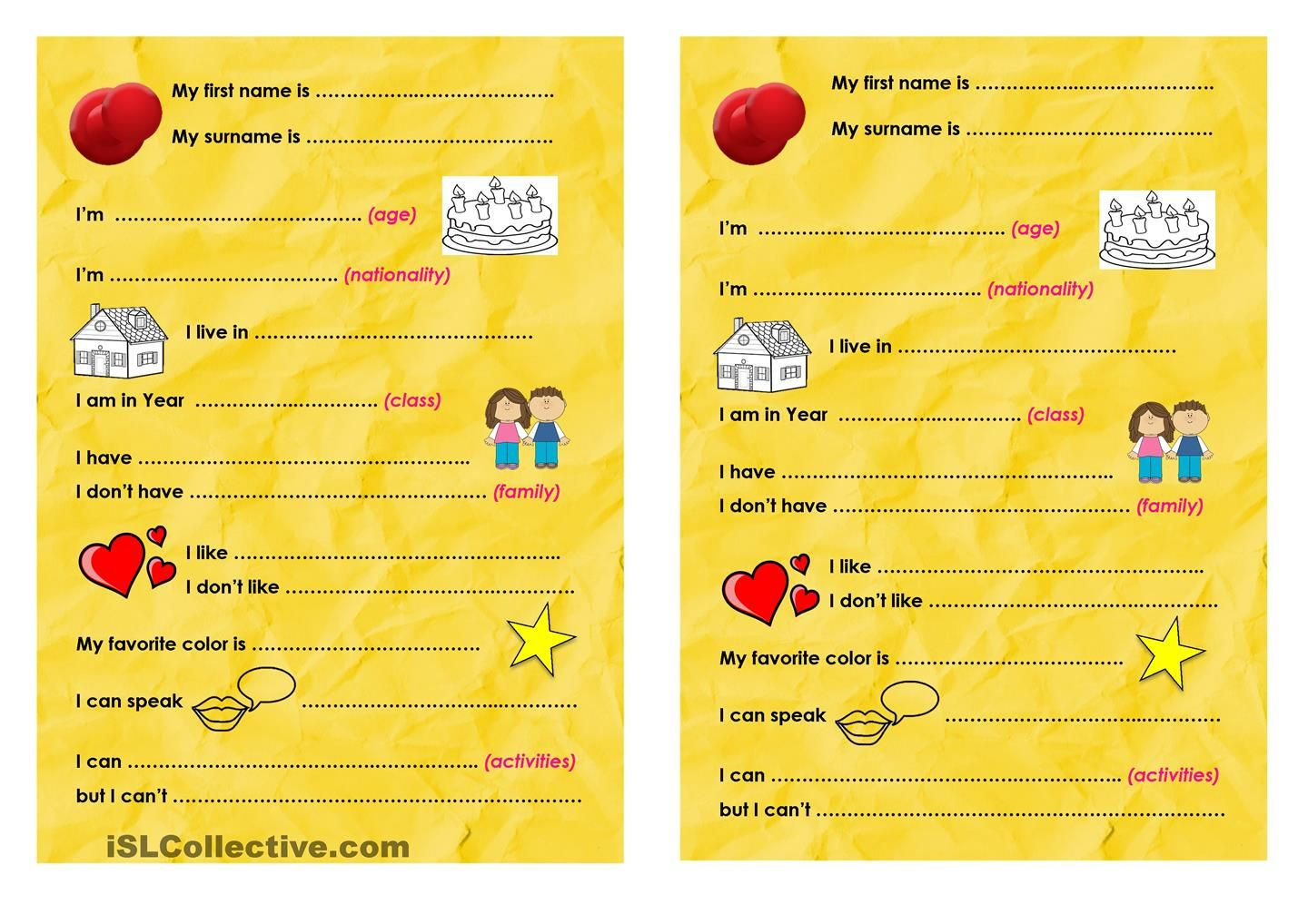 Self Introduction Form Esl Worksheet Of The Day On