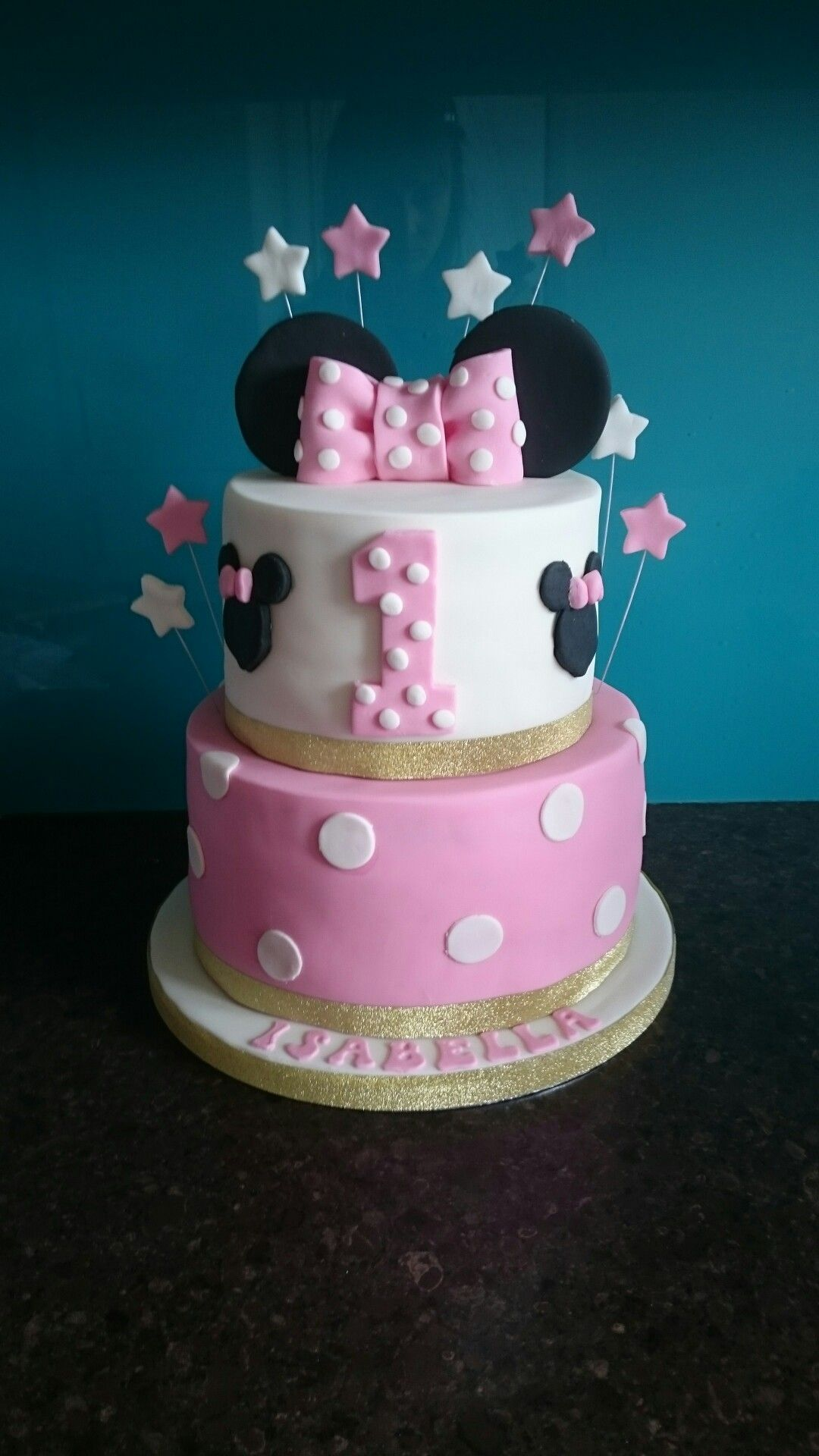 Minnie Mouse Tiered Pink 1st Birthday Cake