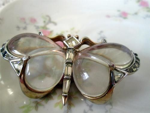 Crown Trifari Jelly Belly Lucite butterfly Brooch Rhinestones Old Pat Pend.