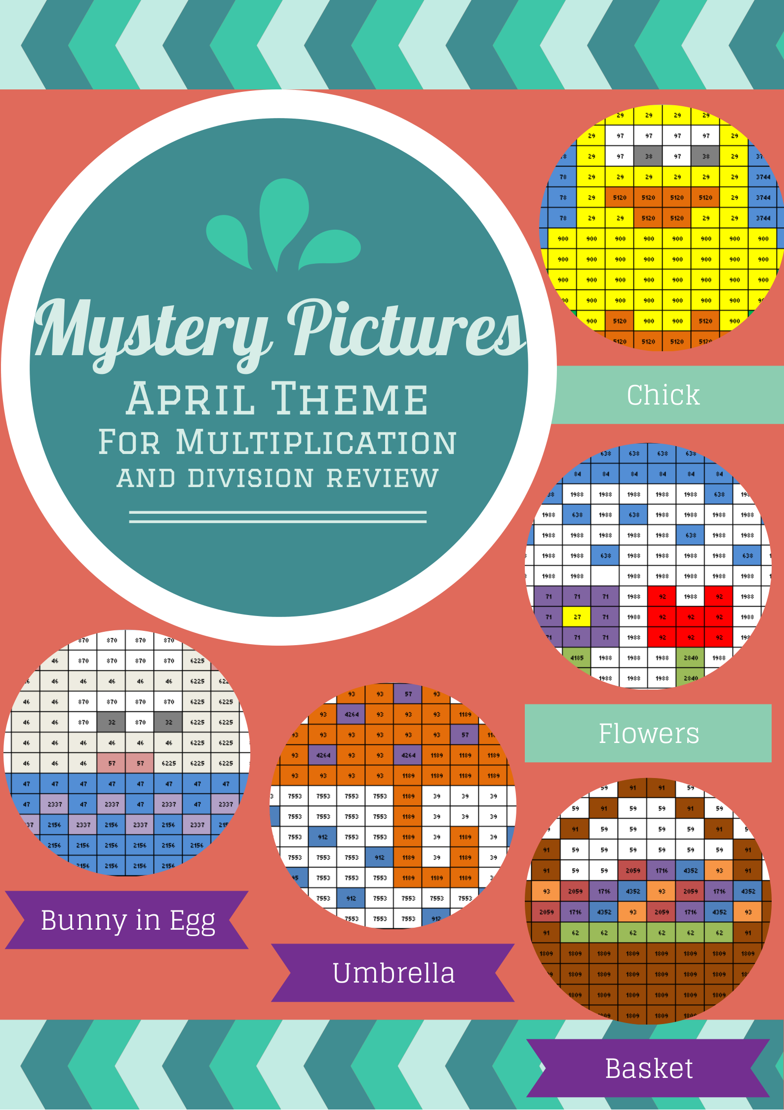 Multiplication and Division Review Mystery Pictures April Theme ...