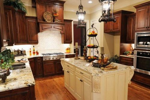 Wood two toned kitchen cabinets tone