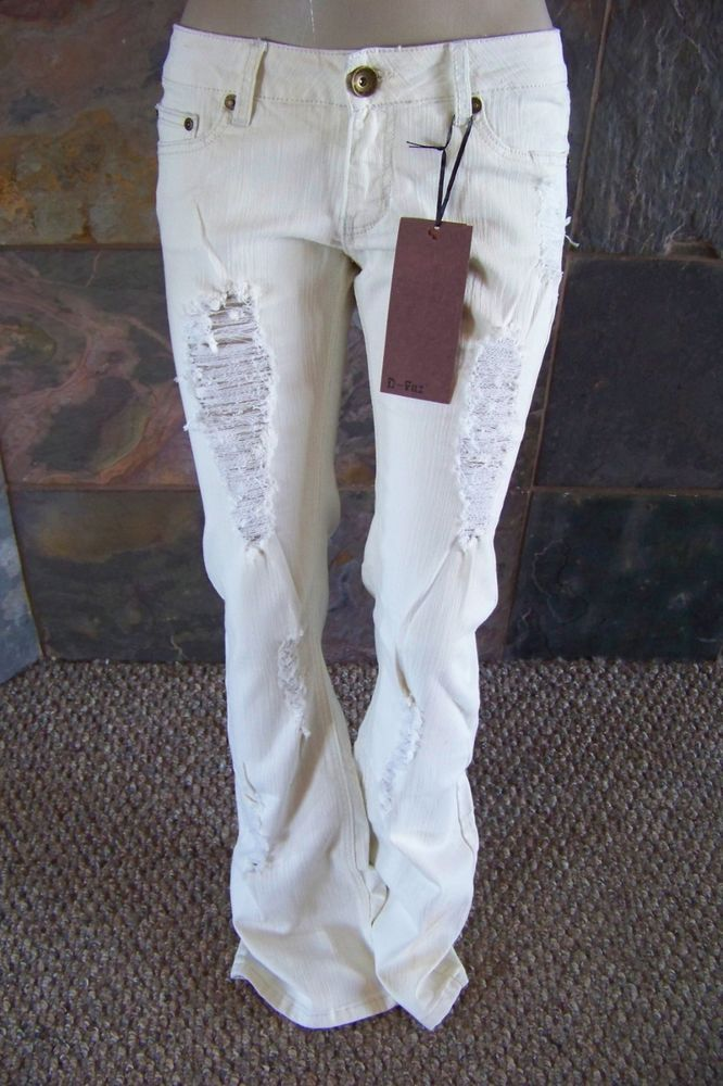 NWT D-Fuz off white distressed destroyed boot cut jeans junior ...