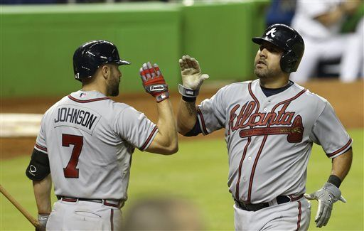 Atlanta Braves' Gearld Laird is congratulated by teammate Reed Johnson after Laird scored on a base hit by Chris Johnson in the 14th inning of a baseball game.