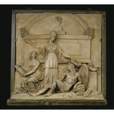 CIRCLE OF CHRISTOPH DANIEL RAUCH (1777-1857)  GERMAN,  CIRCA 1830  A TERRACOTTA RELIEF WITH MINERVA FLANKED BY DEATH AND HISTORY