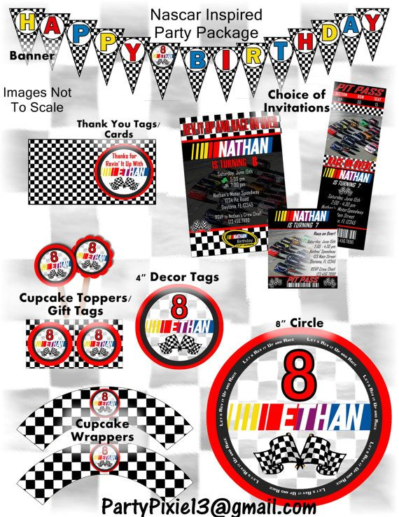 Nascar racing party package with invitation printable and birthday nascar racing party package with invitation printable and filmwisefo Choice Image
