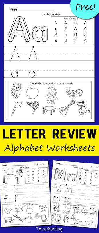 Letter Review Alphabet Worksheets | kindergarten | Pinterest