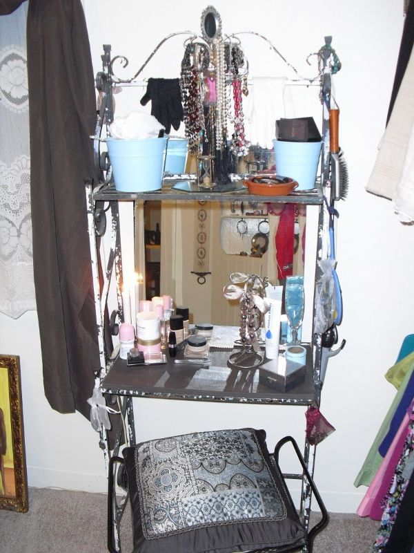Bakers Rack Turned Into Make Up Table Omg I Am Using My Bakers